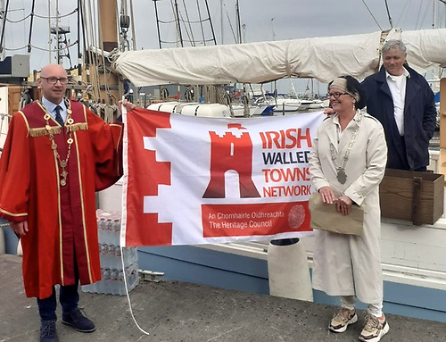The Mayor of Limerick, Councillor Michael Collins, links up with Galway's Deputy Mayor Colette Connolly at the Ilen in the Port of Galway with Ilen Marine School Director Gary Mac Mahon.