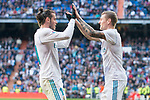 Real Madrid Gareth Bale and Toni Kroos celebrating a goal during La Liga match between Real Madrid and R. C. Deportivo at Santiago Bernabeu Stadium in Madrid, Spain. January 18, 2018. (ALTERPHOTOS/Borja B.Hojas)