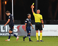 LAKE BUENA VISTA, FL - AUGUST 01: Referee Robert Sibiga shows a caution card to Maximillano Moralez #10 of New York City FC during a game between Portland Timbers and New York City FC at ESPN Wide World of Sports on August 01, 2020 in Lake Buena Vista, Florida.