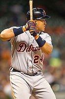 Detroit Tigers third baseman Miguel Cabrera (24) at bat during the MLB baseball game against the Houston Astros on May 3, 2013 at Minute Maid Park in Houston, Texas. Detroit defeated Houston 4-3. (Andrew Woolley/Four Seam Images).