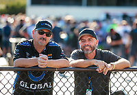 Sep 15, 2019; Mohnton, PA, USA; NHRA photographer Gary Nastase (right) with Pat Galvin during the Reading Nationals at Maple Grove Raceway. Mandatory Credit: Mark J. Rebilas-USA TODAY Sports