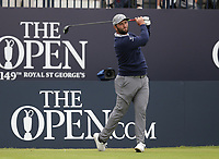 14th July 2021; The Royal St. George's Golf Club, Sandwich, Kent, England; The 149th Open Golf Championship, practice day; Jon Rahm (ESP) hits his tee shot on the opening hole