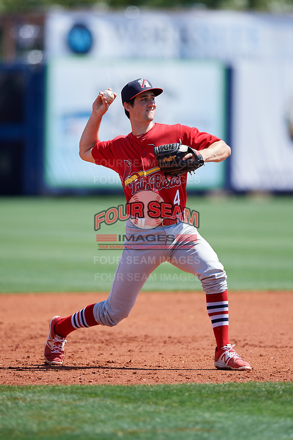 Palm Beach Cardinals third baseman Danny Diekroeger (4) throws to first base during a game against the Charlotte Stone Crabs on April 12, 2017 at Charlotte Sports Park in Port Charlotte, Florida.  Palm Beach defeated Charlotte 8-7 in ten innings.  (Mike Janes/Four Seam Images)