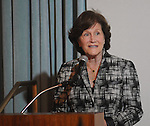 Nancy Levicki speaks at the Junior League of Houston's Opening Style Show & Luncheon Thursday Sept. 10,2015.(Dave Rossman photo)