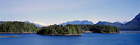 Panoramic View of Tofino  Harbour and Insular Mountains, from Tofino, BC, Vancouver Island, British Columbia, Canada
