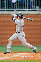 Bill Cullen (2) of the Virginia Commonwealth Rams follows through on his swing against the Charlotte 49ers at Robert and Mariam Hayes Stadium on March 30, 2013 in Charlotte, North Carolina.  The Rams defeated the 49ers 4-3 in game two of a double-header.  (Brian Westerholt/Four Seam Images)