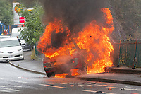 2018 08 08 Car fire in Crumlin, Wales, UK