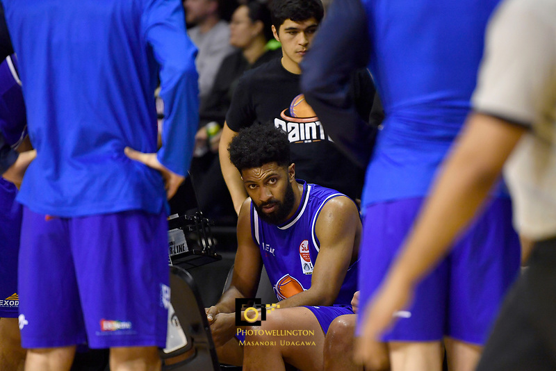 Dion Prewster of the Wellington Saints looks on during the NBL match between the Wellington Saints and the Auckland Huskies at TSB Bank Arena, Wellington, New Zealand on Friday 28 May 2021.<br /> Photo by Masanori Udagawa. <br /> www.photowellington.photoshelter.com