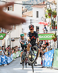 Tom Pidcock (GBR) Ineos Grenadiers entertains the crowd on the final climb during Stage 11 of La Vuelta d'Espana 2021, running 133.6km from Antequera to Valdepeñas de Jaén, Spain. 25th August 2021.     <br /> Picture: Cxcling | Cyclefile<br /> <br /> All photos usage must carry mandatory copyright credit (© Cyclefile | Cxcling)