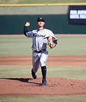 Jordan Yamamoto of the Salt River Rafters pitches in the 2018 Arizona Fall League championship game won by the Peoria Javelinas, 3-2 in 10 innings, over the Rafters at Scottsdale Stadium on November 17, 2018 in Scottsdale, Arizona (Bill Mitchell)