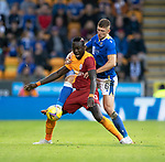 St Johnstone v Galatasaray…12.08.21  McDiarmid Park Europa League Qualifier<br />Mbaye Diagne holds off Liam Gordon.<br />Picture by Graeme Hart.<br />Copyright Perthshire Picture Agency<br />Tel: 01738 623350  Mobile: 07990 594431
