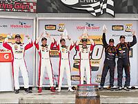 IMSA WeatherTech SportsCar Championship<br /> Sahlen's Six Hours of the Glen<br /> Watkins Glen International, Watkins Glen, NY USA<br /> Saturday 1 July 2017<br /> 37, MINI, MINI JCW, ST, Mike LaMarra, James Vance 73, MINI, MINI JCW, ST, Derek Jones, Mat Pombo 56, Porsche, Porsche Cayman, ST, Jeff Mosing, Eric Foss podium<br /> World Copyright: Michael L. Levitt/LAT Images