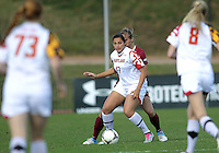 COLLEGE PARK, MD - OCTOBER 21, 2012:  Gabby Galanti (17) of the University of Maryland shields the ball from Kristin Grubka (13) of Florida State during an ACC women's match at Ludwig Field in College Park, MD. on October 21. Florida won 1-0.