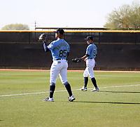 Julio Rodriguez (left), Ichiro Suzuki (right) - Seattle Mariners 2020 spring training (Bill Mitchell)