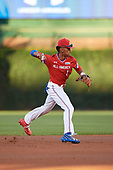 Jeremiah Jackson (1) of St. Luke's Episcopal High School in Mobile, Alabama throws to first base during the Under Armour All-American Game presented by Baseball Factory on July 29, 2017 at Wrigley Field in Chicago, Illinois.  (Mike Janes/Four Seam Images)