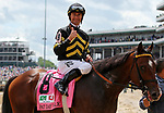 LOUISVILLE, KY - MAY 06: Corey Lanerie, aboard Wild Shot #8, after winning the Pat Day Mile Stakes on Kentucky Derby Day at Churchill Downs on May 6, 2017 in Louisville, Kentucky. (Photo by Candice Chavez/Eclipse Sportswire/Getty Images)