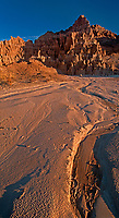 910000004 panoramic view of panaca sandstone formations turning yellow and red in sunrise light in cathedral gorge state park nevada