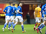 Motherwell v St Johnstone…20.02.21   Fir Park   SPFL<br />Guy Melamed celebrates his penalty that made it 3-0<br />Picture by Graeme Hart.<br />Copyright Perthshire Picture Agency<br />Tel: 01738 623350  Mobile: 07990 594431