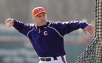 Clemson head coach Jack Leggett (7) throws batting practice prior to a game between the Charlotte 49ers and Clemson Tigers Feb. 20, 2009, at Doug Kingsmore Stadium in Clemson, S.C. (Photo by: Tom Priddy/Four Seam Images)