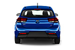 Straight rear view of 2021 KIA Rio S 5 Door Hatchback Rear View  stock images