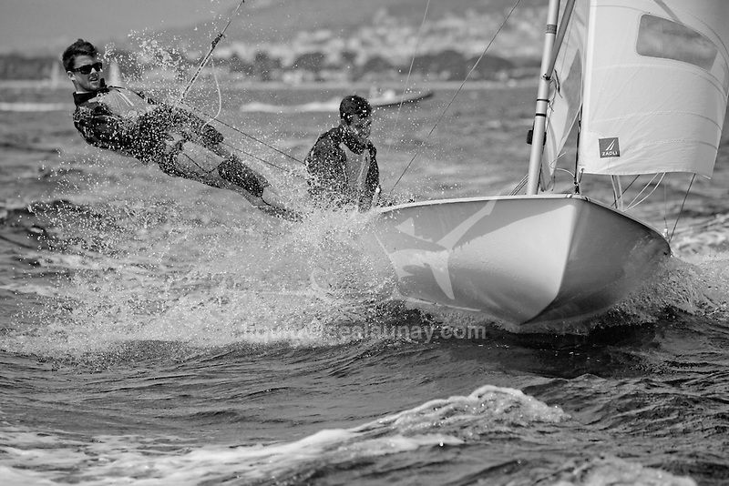 ISAF Sailing World Cup Hyères - Fédération Française de Voile. 470, Jeremie Mion<br /> Sofian Bouvet.