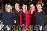 Linda O'Neill, Vicki Keane, Denise Relihan, Breda Shanahan and Kim Donovan enjoying Women's Christmas in the Ashe Hotel on Saturday.
