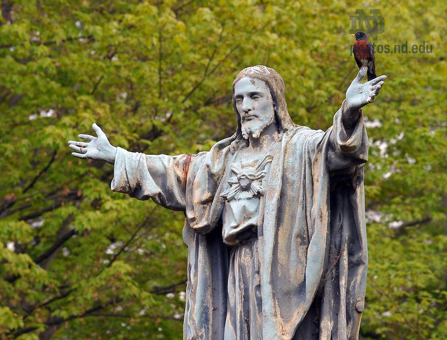 Jesus statue on main quad, May 2010...Photo by Matt Cashore/University of Notre Dame