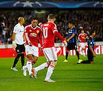 Belgie, Brugge, 26 augustus 2015<br /> Champions League play-offs<br /> Seizoen 2015-2016<br /> Club Brugge-Manchester United<br /> Memphis Depay schreeuwt het uit van vreugde nadat zijn ploeggenoot Wayne Rooney een doelpunt heeft gemaakt
