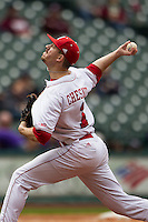 Nebraska Cornhuskers pitcher Jeff Chesnut (1) delivers a pitch to the plate during the NCAA baseball game against the Hawaii Rainbow Warriors on March 7, 2015 at the Houston College Classic held at Minute Maid Park in Houston, Texas. Nebraska defeated Hawaii 4-3. (Andrew Woolley/Four Seam Images)