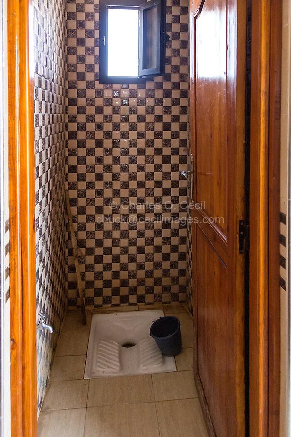 Essaouira, Morocco.  Turkish Toilet at a Gas (Petrol) Station.