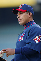 Ricardo Rincon of the Cleveland Indians before a 2002 MLB season game against the Los Angeles Angels at Angel Stadium, in Los Angeles, California. (Larry Goren/Four Seam Images)