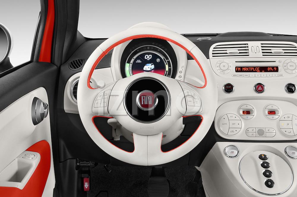 Car pictures of steering wheel view of a 2014 Fiat 500e 3 Door Hatchback Steering Wheel