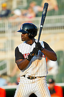 Kenny Gilbert #26 of the Kannapolis Intimidators at bat against the Delmarva Shorebirds at Fieldcrest Cannon Stadium on May 22, 2011 in Kannapolis, North Carolina.   Photo by Brian Westerholt / Four Seam Images