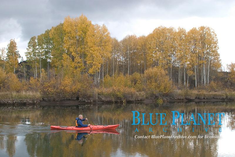 A kayaker enjoys exploring the Lower Deschutes River in central Oregon. (no MR)