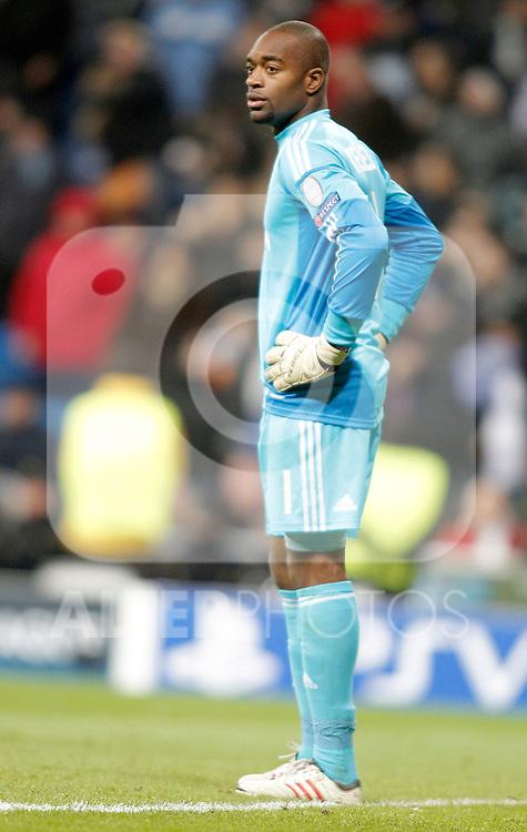 AFC Ajax's Kenneth Vermeer dejected during Champions League Match. December 04, 2012. (ALTERPHOTOS/Alvaro Hernandez)