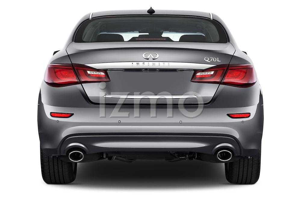 Straight rear view of a 2015 Infiniti Q70 3.7 L 4 Door Sedan Rear View  stock images