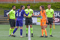 assistant referee Ercan Eray , Laura De Neve (8) of Anderlecht  , referee Baptiste Federico  , Silke Vanwynsberghe (21) of AA Gent , assistant referee Thibault Holvoet pictured before a female soccer game between RSC Anderlecht Dames and AA Gent Ladies on the fifth matchday of play off 1 of the 2020 - 2021 season of Belgian Womens Super League , saturday 8 th of May 2021  in Brussels , Belgium . PHOTO SPORTPIX.BE | SPP | STIJN AUDOOREN
