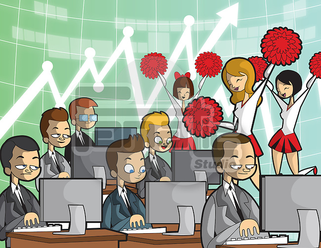 Illustrative image of business people competing for incentive with cheerleading team