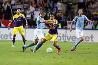 Thursday 08 August 2013<br /> Pictured L-R: Erdal Rakip of Malmo challenging Neil Taylor of Swansea <br /> Re: Malmo FF v Swansea City FC, UEFA Europa League 3rd Qualifying Round, Second Leg, at the Swedbank Stadium, Malmo, Sweden.