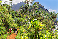 Hikers with their baby and their friends on the Kalalau Trail, northern Kaua'i.