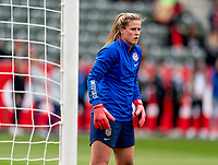 CARSON, CA - FEBRUARY 9: Alyssa Naeher #1 of the United States warms up during a game between Canada and USWNT at Dignity Health Sports Park on February 9, 2020 in Carson, California.