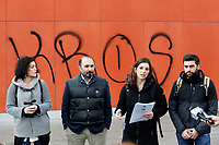 Alessandro Ferrara, the lawyer who drew up the document for the 41 migrants (senior left) and Giovanna Cavallo, legal responsible for Baobab experience (second right)<br /> Rome February 22nd 2019. Tiburtina Station. Press conference of the lawyers of the 41 migrants that asked for compensation to the Minister of Internal Affairs Matteo Salvini and to the Premier Giuseppe Conte. Last August 20th a ship, carrying 177 migrants (among them many minors) docked in the harbour of Catania but Minister Salvini took the decision to block migrants of Diciotti ship at sea. That's the reason why the ministers will be prosecuted by the migrants, that will ask 42 to 71 thousand Euros each as a compensation.<br /> Foto Samantha Zucchi Insidefoto
