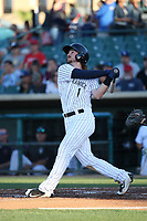 Brendan Rodgers (1) of the Lancaster JetHawks bats against the Lake Elsinore Storm at The Hanger on June 14, 2017 in Lancaster, California. Lancaster defeated Lake Elsinore, 4-0. (Larry Goren/Four Seam Images)