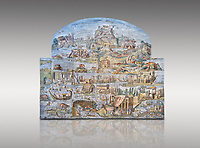 Pictures of the famous Nilotic landscape Palestrina Mosaic or Nile mosaic of Palestrina of the Museo Archeologico Nazionale di Palestrina Prenestino  (Palestrina Archaeological Museum), Palestrina, Italy. Measuring 5.85 m wide by 4.31 m high ( 19 ft wide x 14 ft high). 1st or 2nd century BC.<br /> <br /> The Nile mosaic of Palestrina can be attributed to Alexandrian artists who were certainly present in Italy during the 2nd century BC. The mosaic depicts the Nile in flood and artificially compresses the length of the river into a series of zig zags. The top part of the mosaic represents Ethiopia and Nubia at the source of the Nile. The river flows down steep slopes between black hunters and African animals. The Nile flows to the bottom right hand corner of the mosaic where the harbour of Alexandria is depicted and right in the bottom right corner is the Island of the Pharos opposite which is a banqueting scene, possibly at Canopus. <br /> <br /> In the centre of the mosaic is a large Egyptian temple possibly the great sanctuary of Memphis or Karnak. The Mosaic though is dotted with Greek temples of the Greek ruling Ptolemy family who displaced the Pharos.
