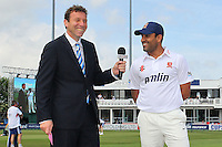 Michael Atherton (L) shares a joke with Ravi Bopara of Essex after the Essex captain wins the toss - Essex CCC vs England - LV Challenge Match at the Essex County Ground, Chelmsford - 30/06/13 - MANDATORY CREDIT: Gavin Ellis/TGSPHOTO - Self billing applies where appropriate - 0845 094 6026 - contact@tgsphoto.co.uk - NO UNPAID USE