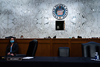 Empty chairs of Senators during the fourth day of the confirmation hearing for Judge Amy Coney Barrett, President Donald Trump's Nominee for Supreme Court, in Hart Senate Office Building in Washington DC, on October 15th, 2020.<br /> Credit: Anna Moneymaker / Pool via CNP /MediaPunch