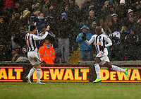 Pictured: Marc-Antoine Fortune (R) of West Bromwich celebrating his opening goal with team mate Graham Dorrans (L). Saturday, 04 February 2012<br /> Re: Premier League football, West Bromwich Albion v Swansea City FC v at the Hawthorns Stadium, Birmingham, West Midlands.