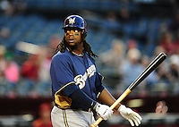 Apr. 3, 2012; Phoenix, AZ, USA; Milwaukee Brewers infielder Rickie Weeks bats in the first inning against the Arizona Diamondbacks during a spring training game at Chase Field.  Mandatory Credit: Mark J. Rebilas-