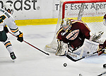 10 February 2012: Boston College Eagles goaltender Parker Milner, a Junior from Pittsburgh, PA, in action against the University of Vermont Catamounts at Gutterson Fieldhouse in Burlington, Vermont. The Eagles defeated the Catamounts 6-1 in their Hockey East matchup. Mandatory Credit: Ed Wolfstein Photo