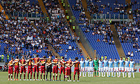 Calcio, Serie A: Lazio vs Roma. Roma, stadio Olimpico, 3 aprile 2016.<br /> Roma and Lazio players observe a minute of silence in memory of Italy's former coach Cesare Maldini, who passed away at the age of 84, prior to the start of their Italian Serie A football match at Rome's Olympic stadium, 3 April 2016.<br /> UPDATE IMAGES PRESS/Riccardo De Luca